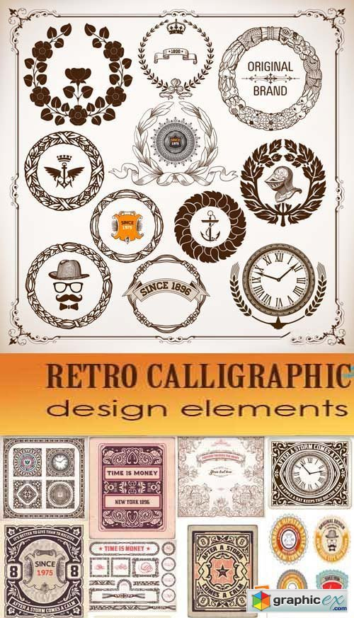 Retro calligraphic design elements, 25xEPS
