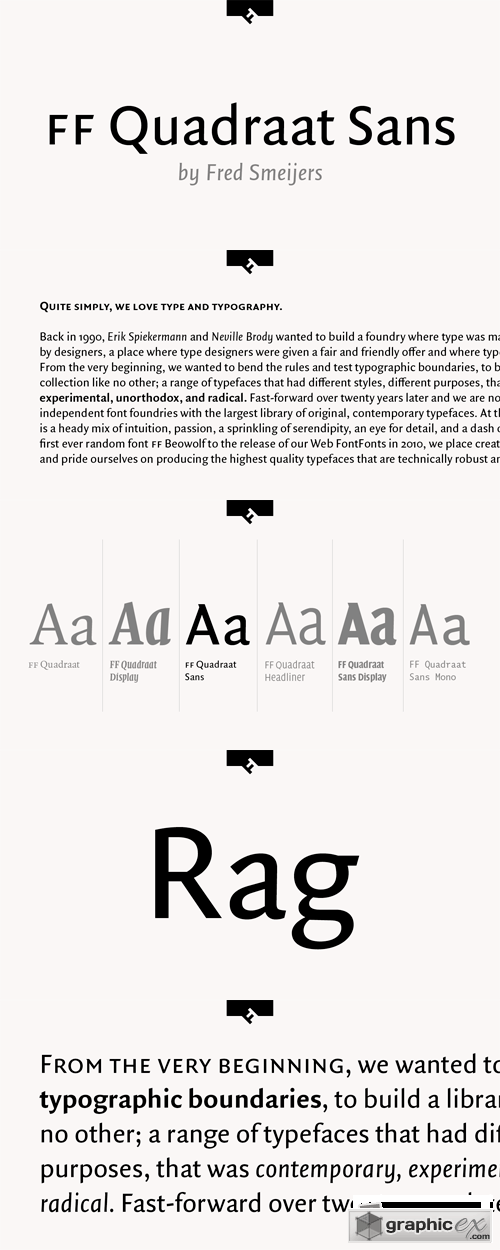 FF Quadraat Sans Font Family - 24 Fonts for $999