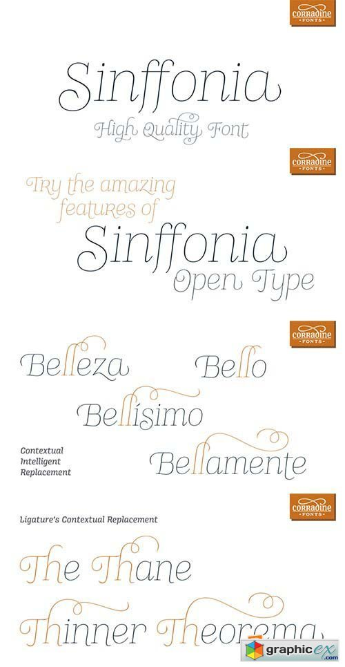 Sinffonia Font Family - 4 Fonts $120