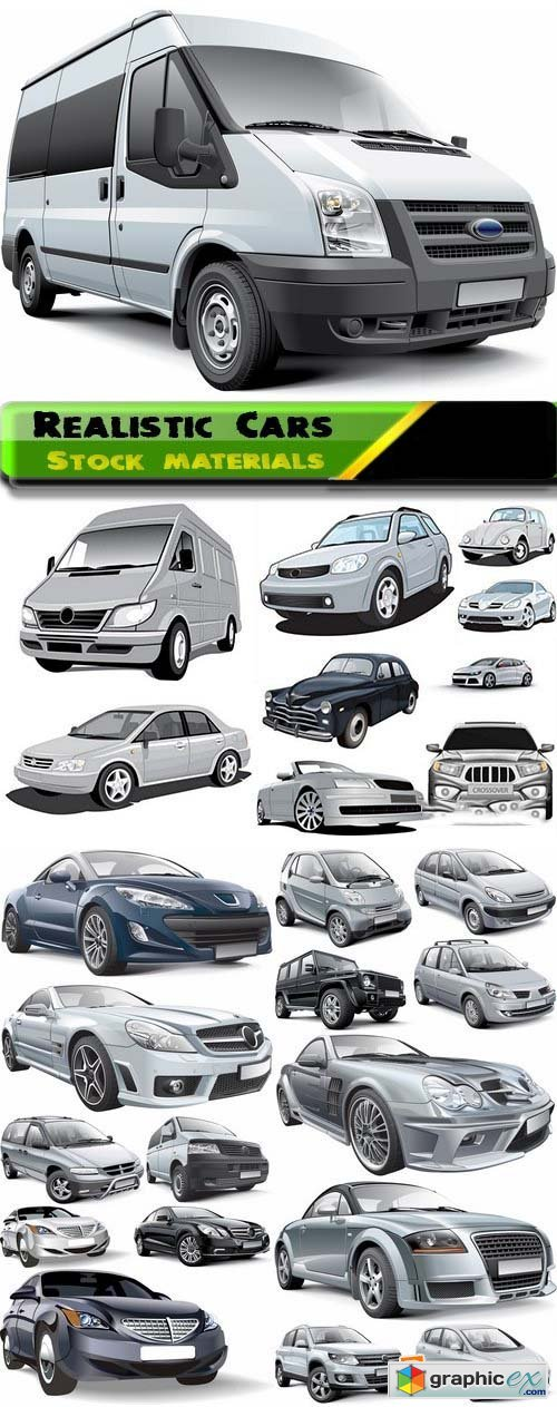 Different realistic Cars in vector from stock 25xEPS