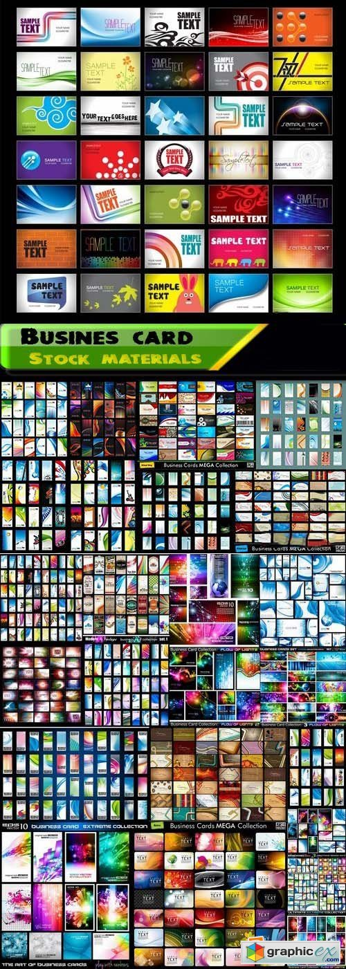 Big collection of busines card template end abstract backgrounds for busines card 25xEPS