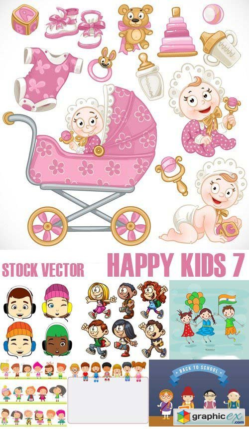Stock Vectors - Happy kids 7, 25xEPS