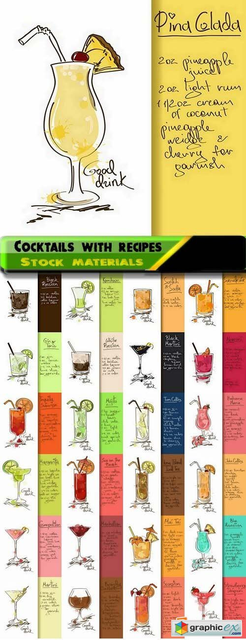 Different Cocktails with recipes in vector from stock 25xEPS