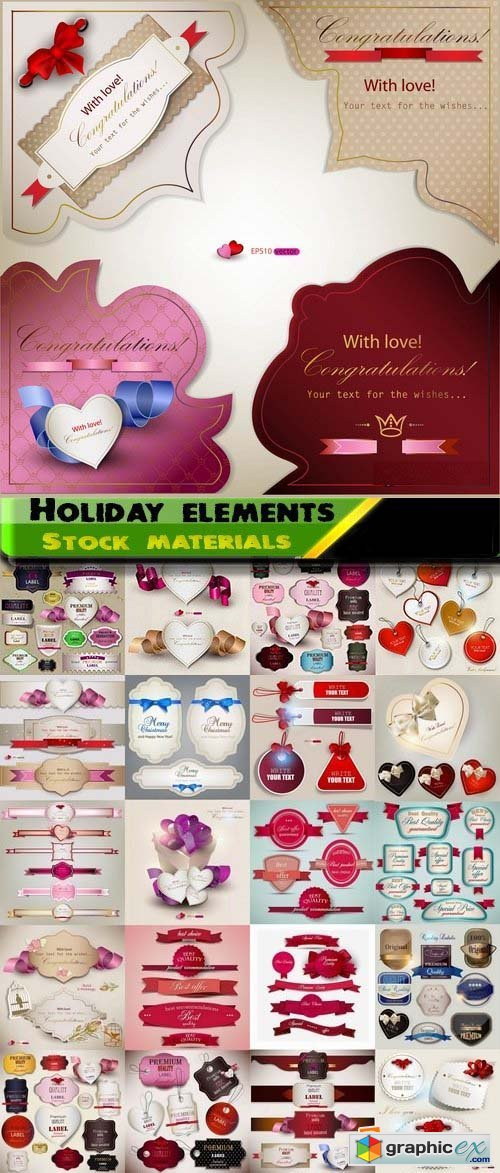Gift labels and holiday elements for gift cover decorations 25xEPS