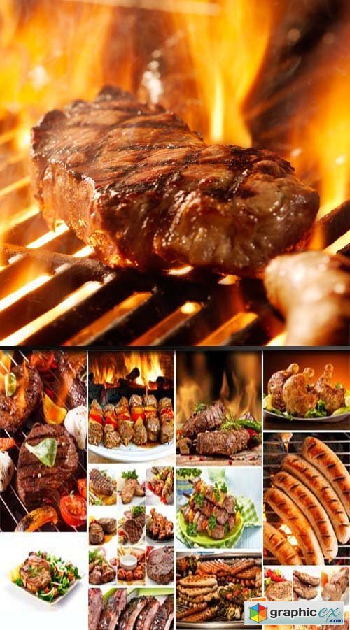Barbeque, grilled meat, 25xJPGs