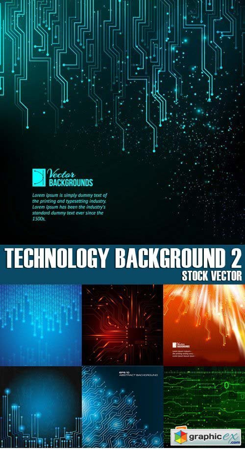 Stock Vectors - Technology background 2, 25xEPS