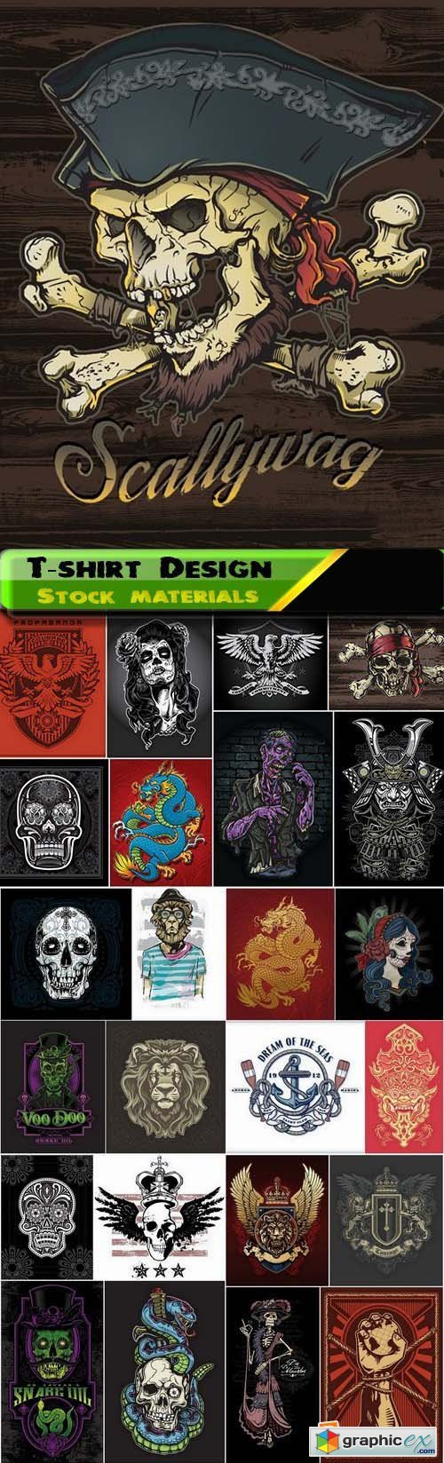 T-shirt Design elements in vector from stock 32 25xEPS