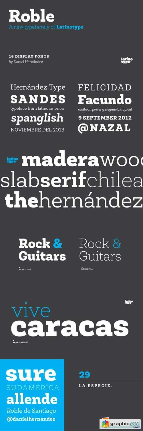 Roble Font Family - 16 Fonts for $126