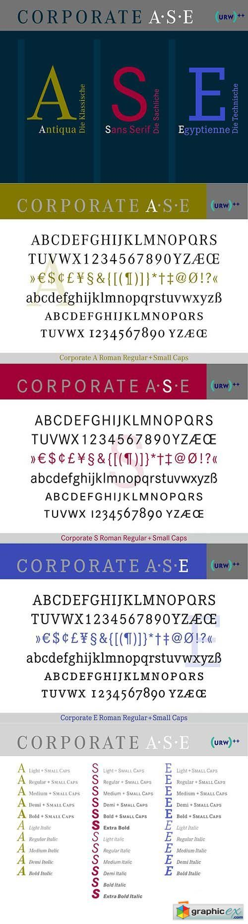 Corporate A S E Typeface Trilogy Font Collection - 53 Font $4770
