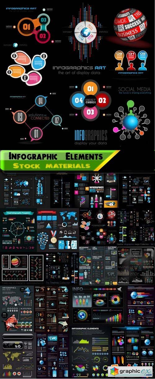 Infographic Elements on black big set 79 25xEPS