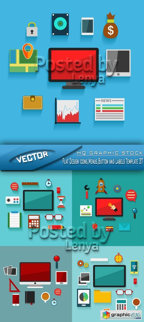 Stock Vector - Flat Design Icons,Menus,Button and Labels Template 37