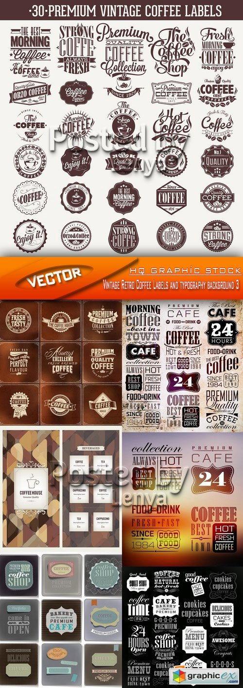 Stock Vector - Vintage Retro Coffee Labels and typography background 3