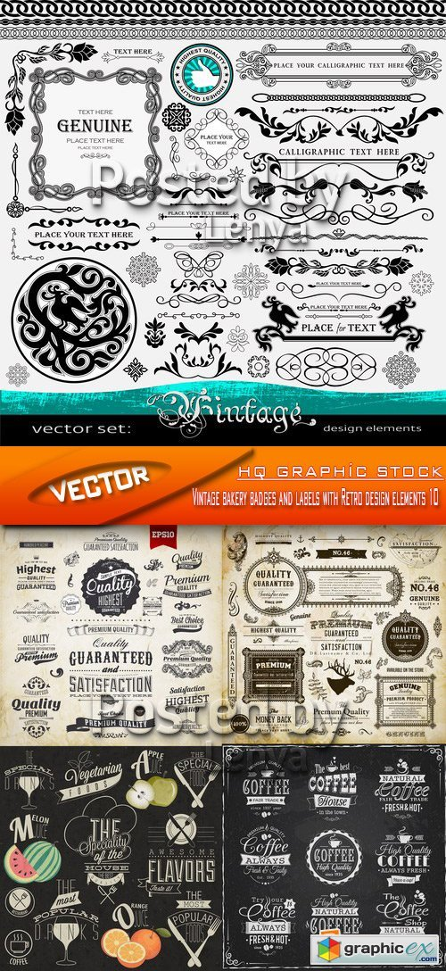 Stock Vector - Vintage bakery badges and labels with Retro design elements 10
