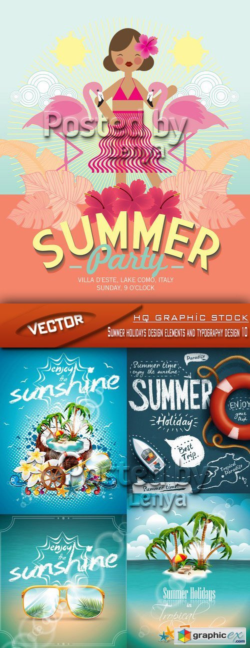 Stock Vector - Summer holidays design elements and typography design 10