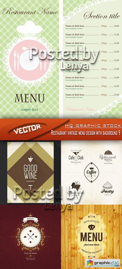 Stock Vector - Restaurant vintage menu design with backround 09