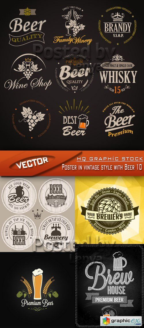 Stock Vector - Poster in vintage style with Beer 10