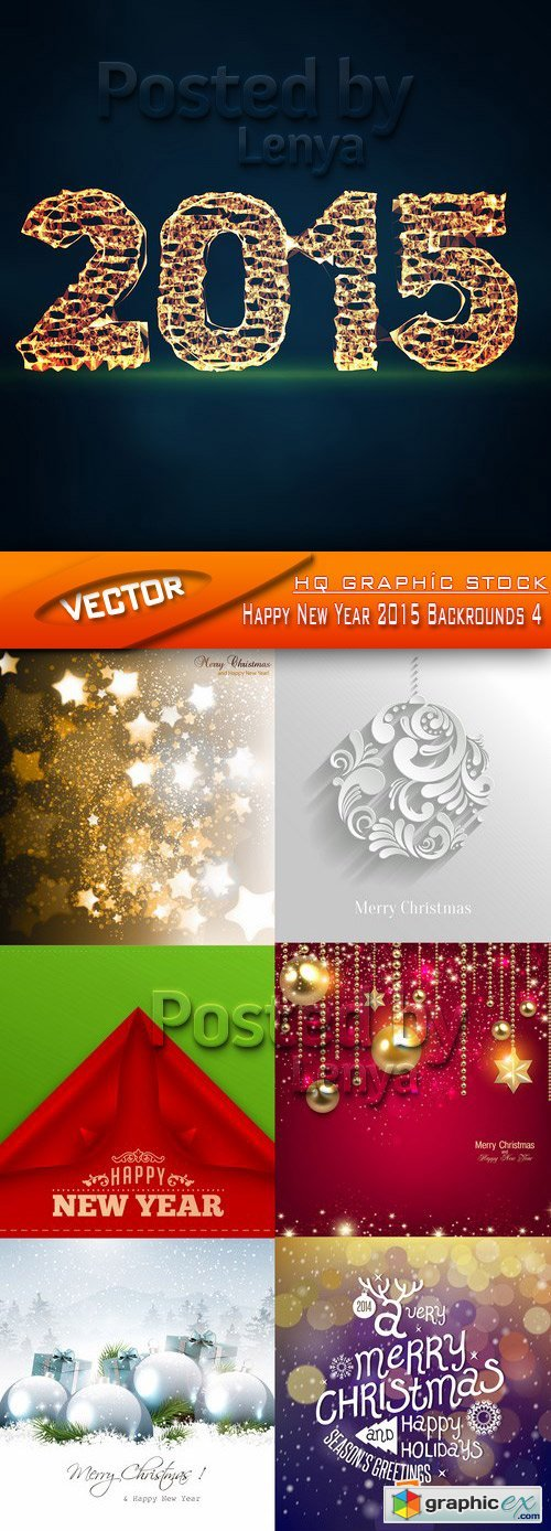 Stock Vector - Happy New Year 2015 Backrounds 4