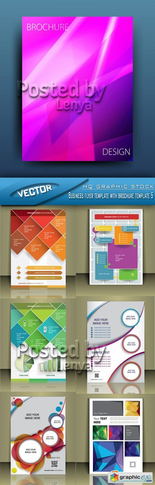 Stock Vector - Business flyer template with brochure template 5