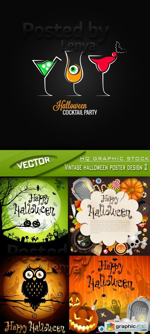 Stock Vector - Vintage halloween poster design 2