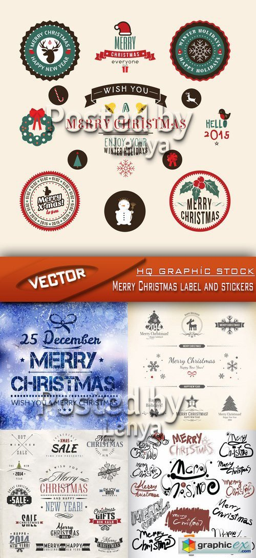 Stock Vector - Merry Christmas label and stickers