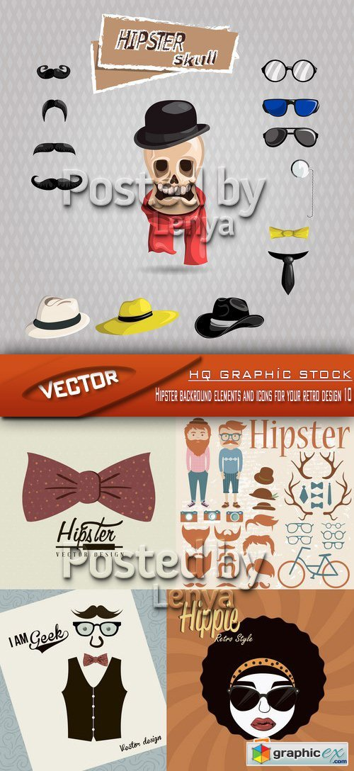 Stock Vector - Hipster backround elements and icons for your retro design 10