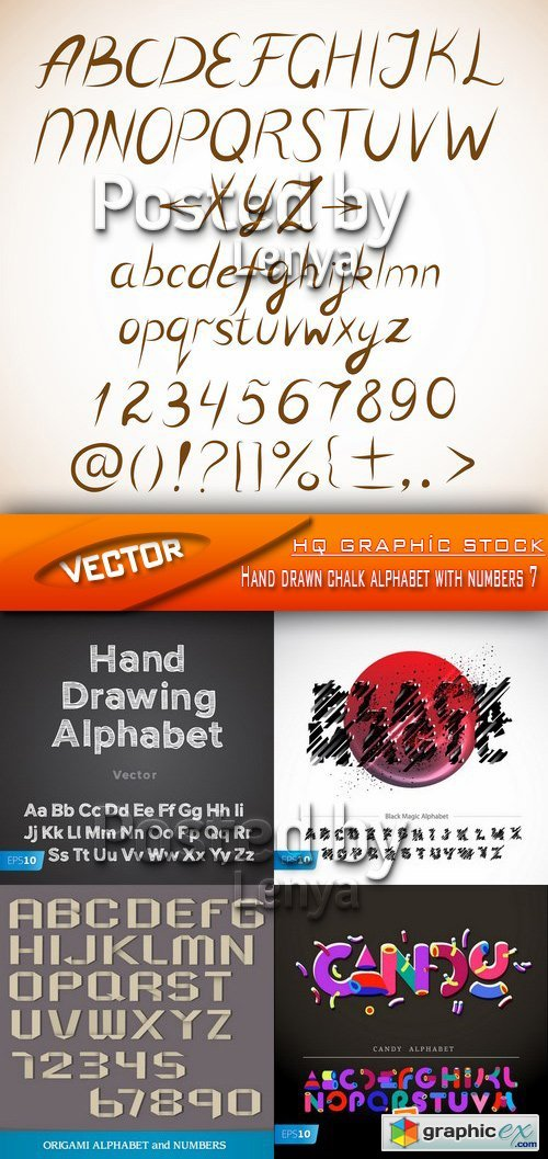 Stock Vector - Hand drawn chalk alphabet with numbers 7