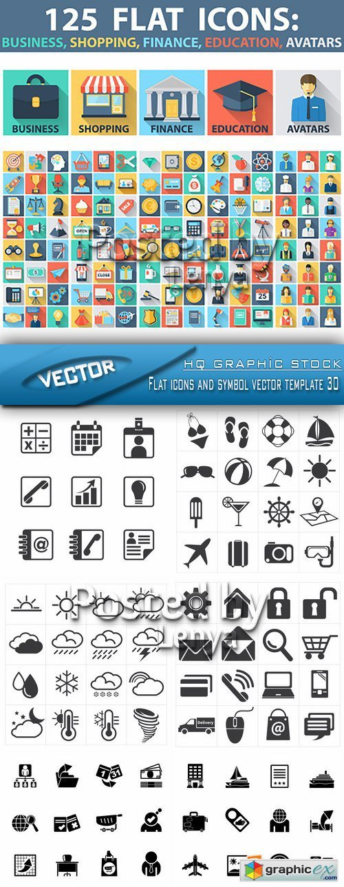 Flat icons and symbol vector template 30