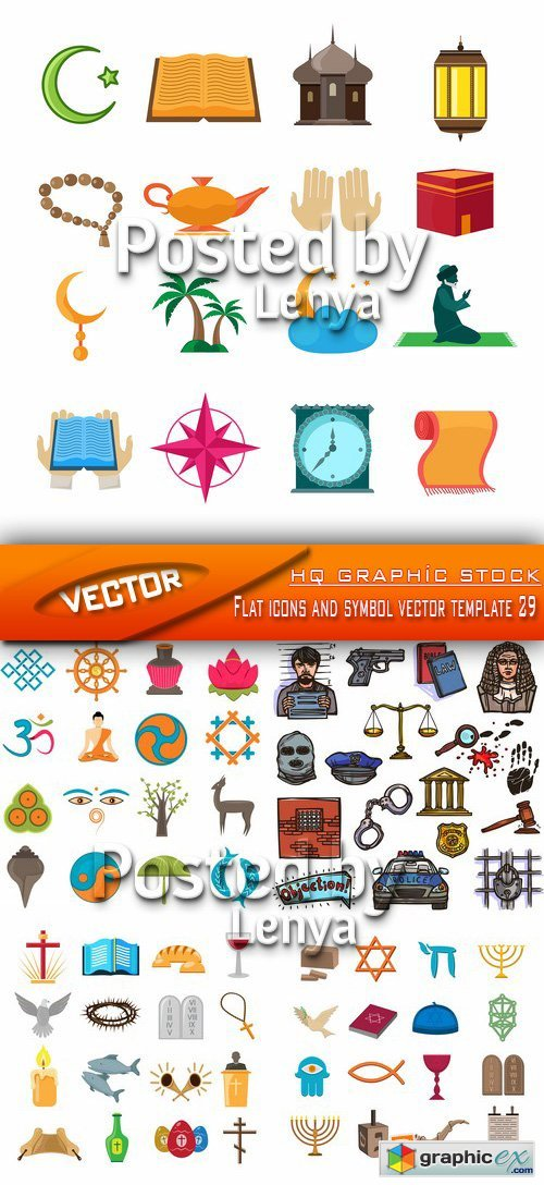 Flat icons and symbol vector template 29