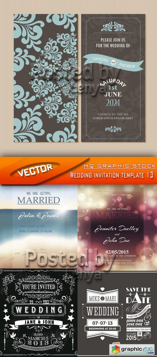 Stock Vector - Wedding invitation template 13