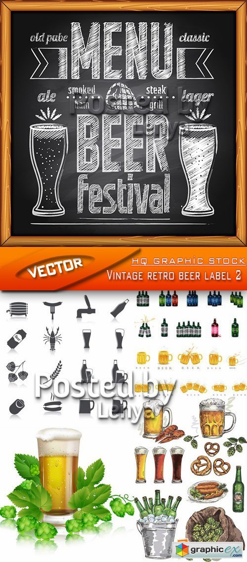 Stock Vector - Vintage retro beer label 2