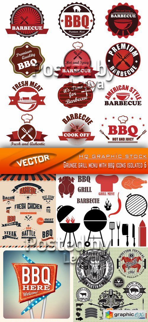 Grunge grill menu with bbq icons isolated 6