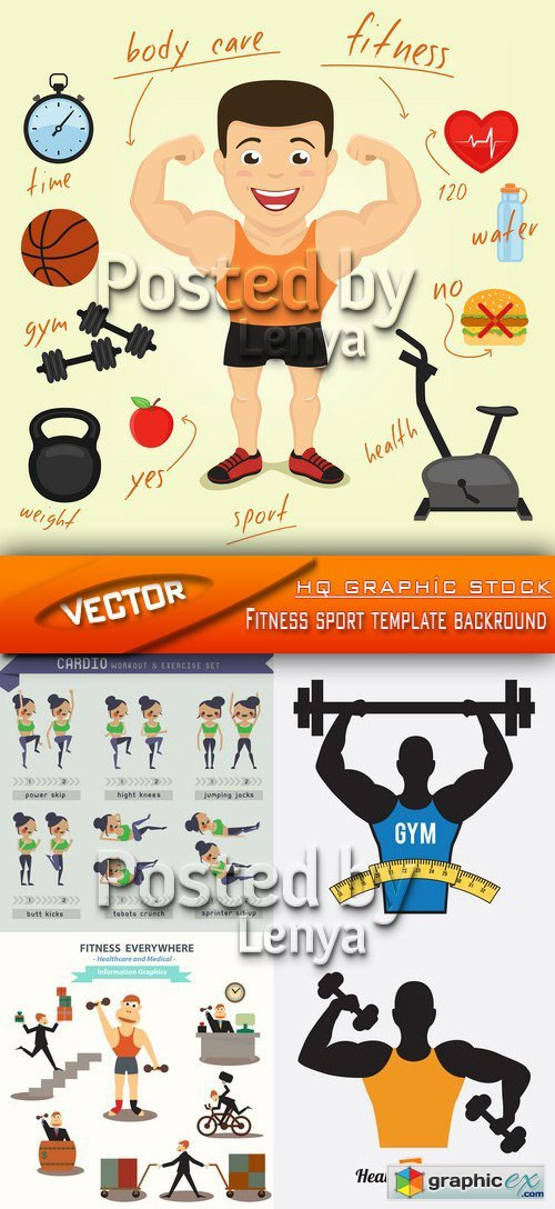 Stock Vector - Fitness sport template backround