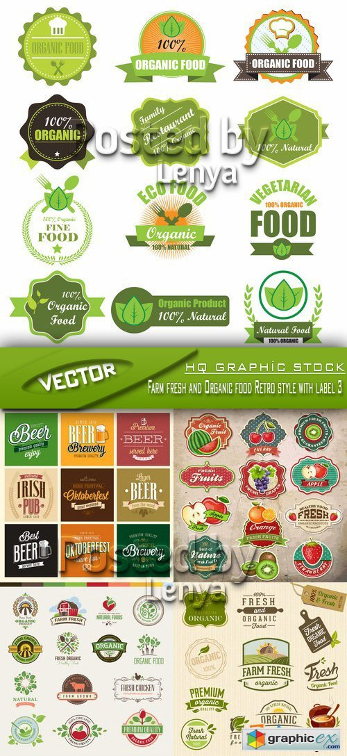 Stock Vector - Farm fresh and Organic food Retro style with label 3