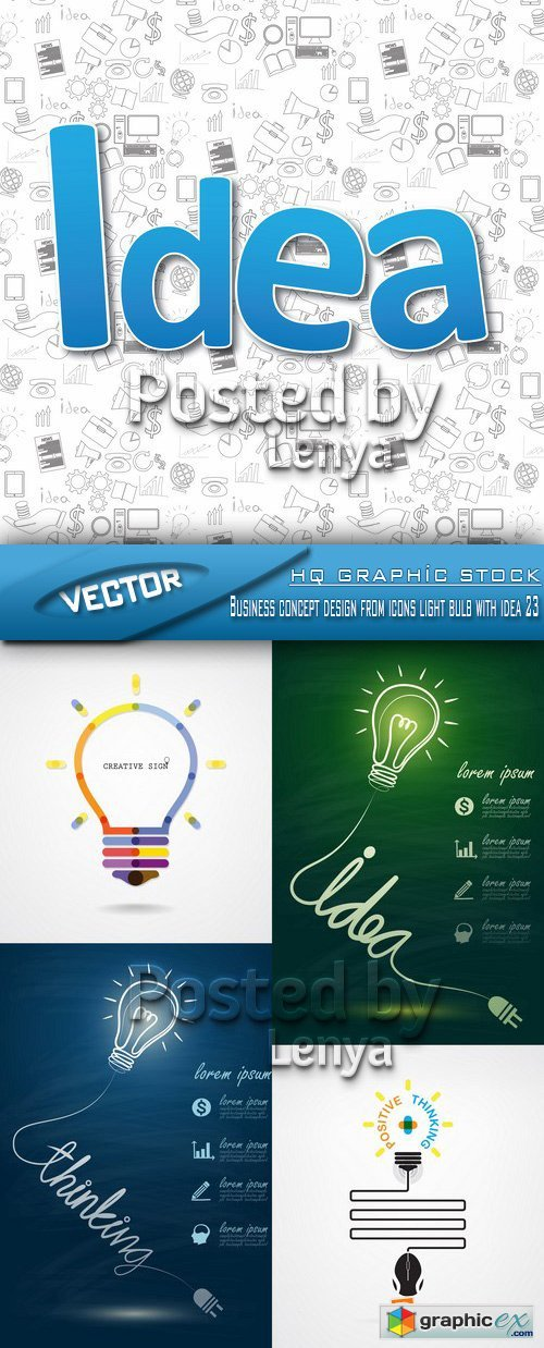 Stock Vector - Business concept design from icons light bulb with idea 23