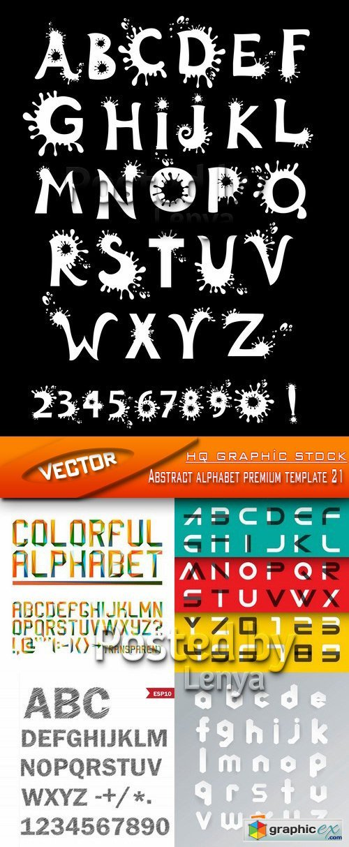 Stock Vector - Abstract alphabet premium template 21