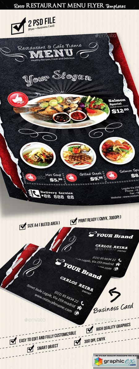 Retro Restaurant Menu Flyer Templates v2 8919184