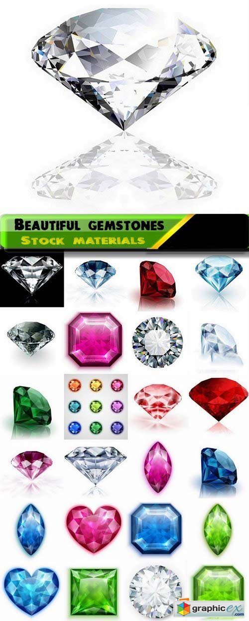 Beautiful gems and gemstones in vector from stock 25xEPS