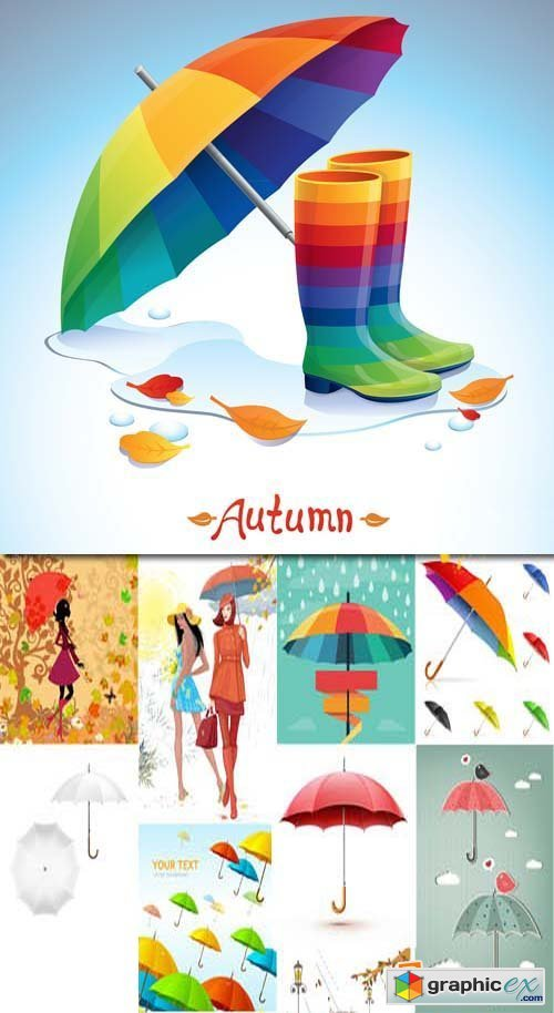 Umbrella Autumn colourful vector illustration, 25xEPS
