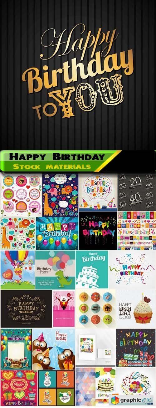 Happy Birthday Template Design 4 25xEPS