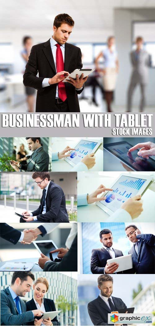 Stock Photos - Businessman with tablet, 25xJPG