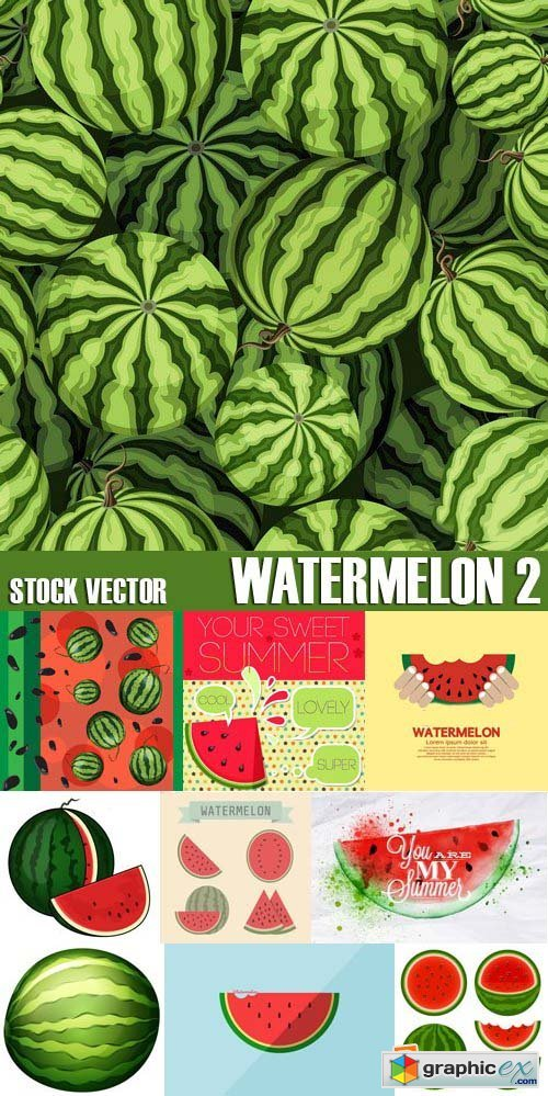 Stock Vectors - Watermelon 2, 25xEPS