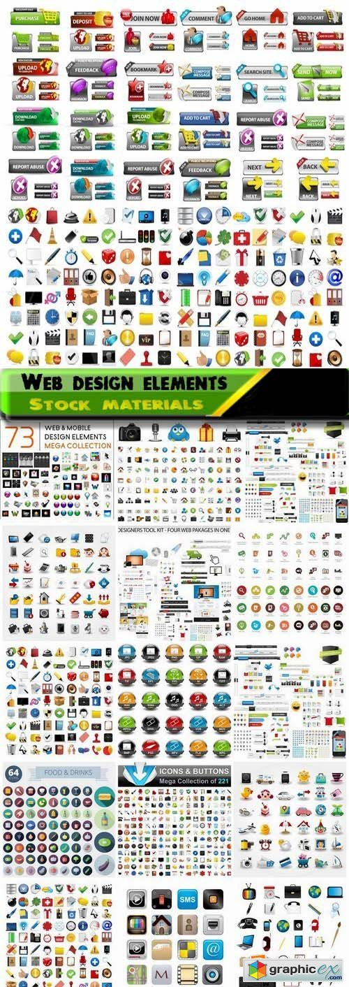 Icons and buttons and web design elements 25xEPS