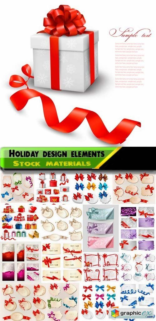 Holiday backgrounds and gift boxes with bows and ribbons 25xEPS