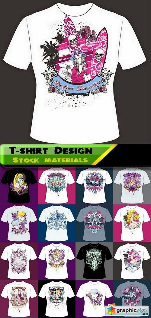T-shirt Design elements in vector from stock 35 25xEPS