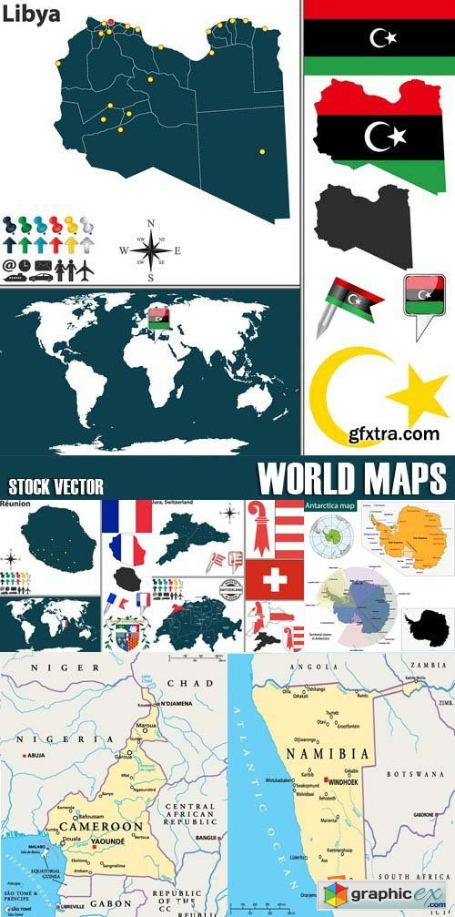 Stock Vectors - World maps, 25xEPS
