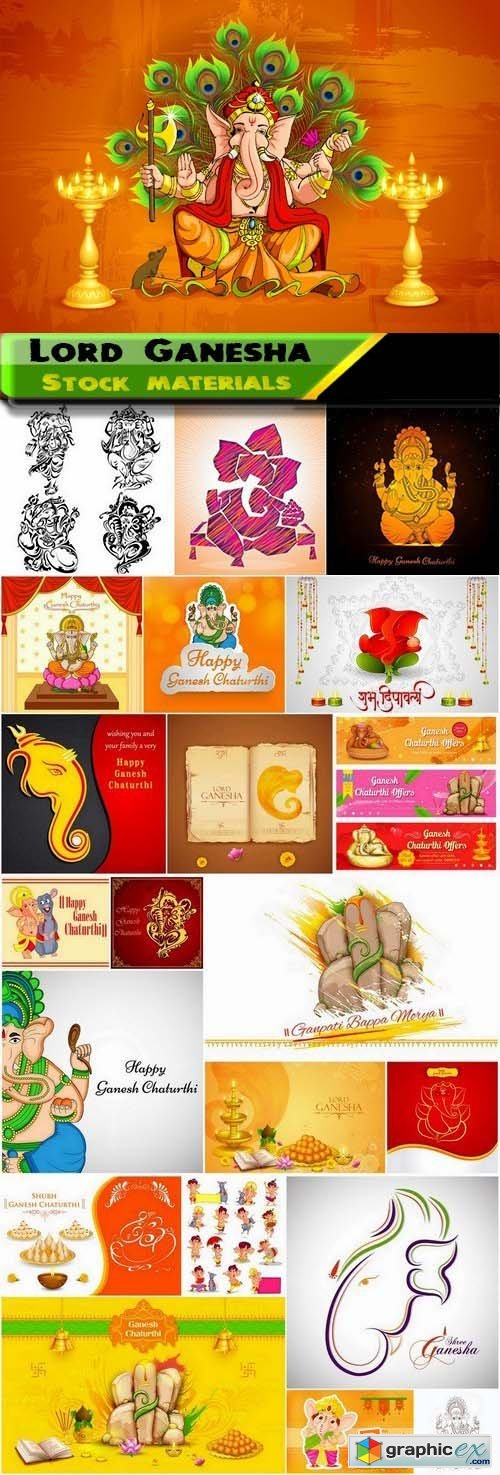 Lord Ganesha Illustration and backgrounds for Ganesh Chaturthi 25xEPS