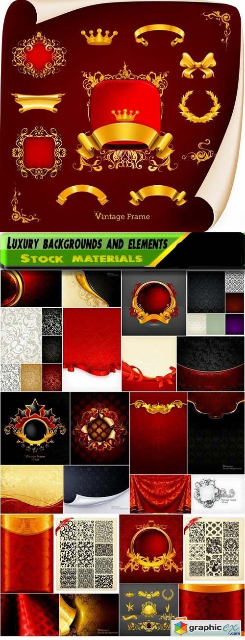Luxury backgrounds and elements for different cover design 25xEPS