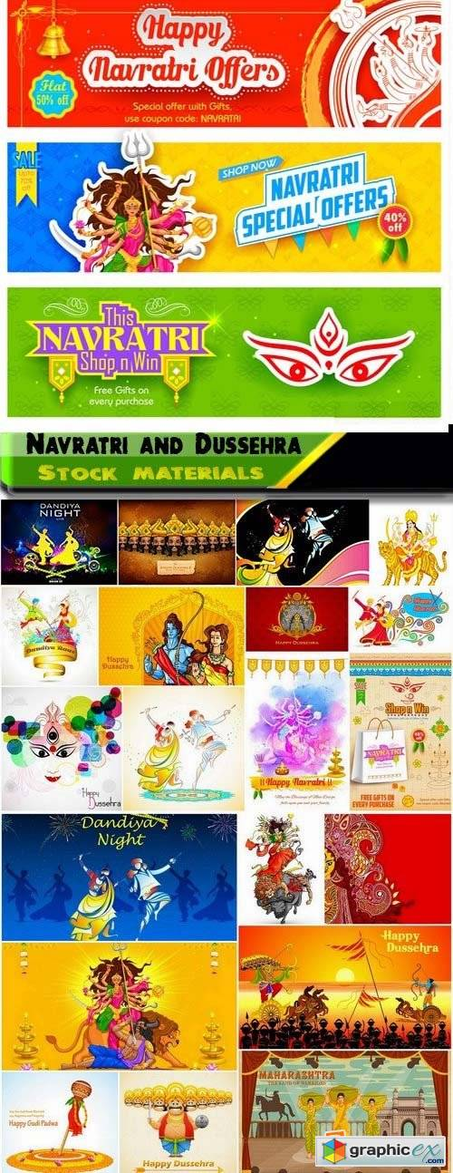 Lord Durga with Happy Navratri and illustration of Raavana for Happy Dussehra 25xEPS
