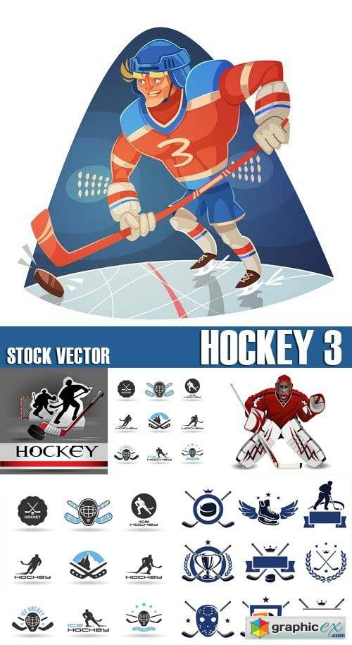 Stock Vectors - Hockey 3, 25xEPS