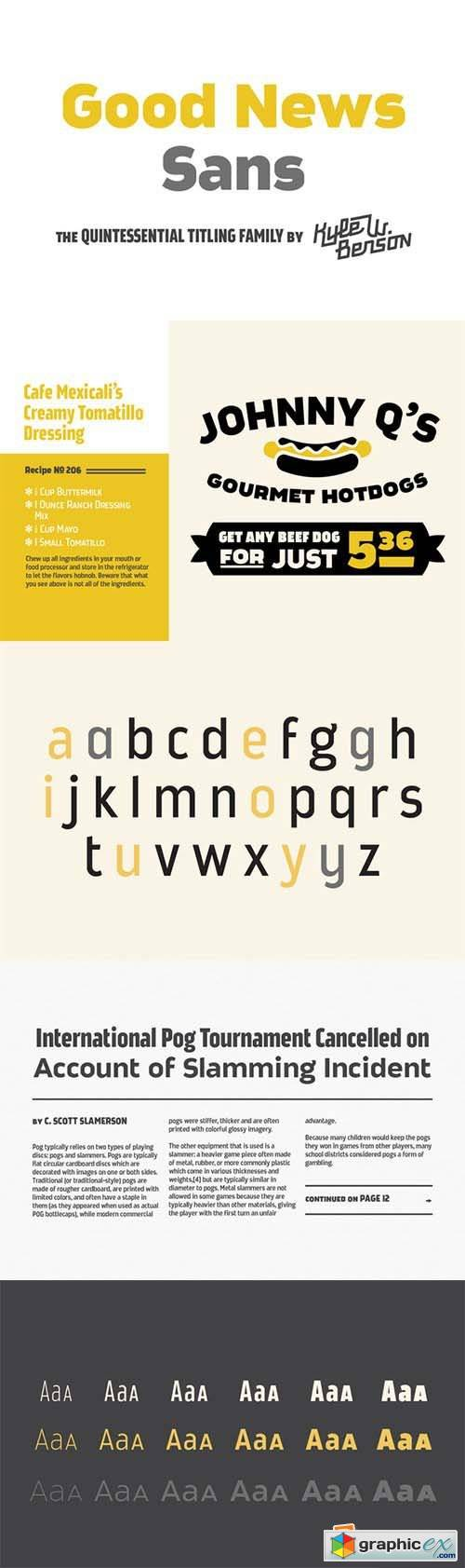 Good News Sans Font Family - 18 Fonts 32$